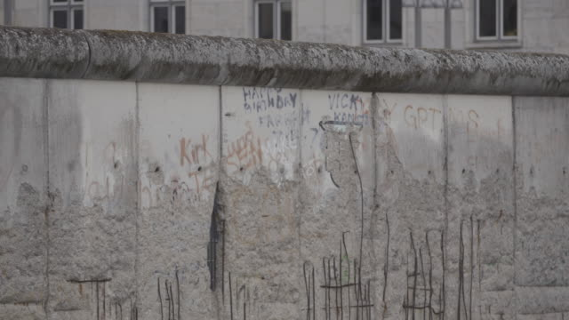 medium shot of the preserved remains of the berlin wall - cold war stock videos & royalty-free footage
