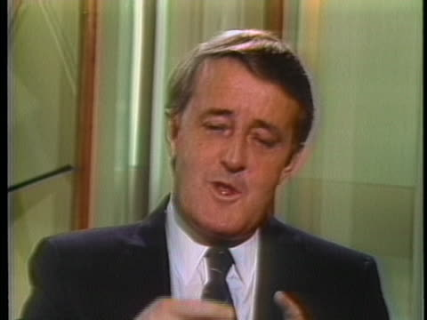 medium shot of the prime minister of canada, brian mulroney speaking about the upcoming us soviet summit in geneva. prime minister, brian maloney... - (war or terrorism or election or government or illness or news event or speech or politics or politician or conflict or military or extreme weather or business or economy) and not usa stock videos & royalty-free footage
