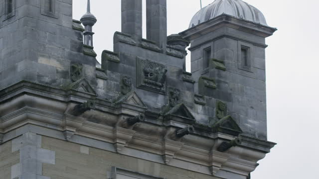 medium shot of the turrets of floors castle - stone object stock videos & royalty-free footage