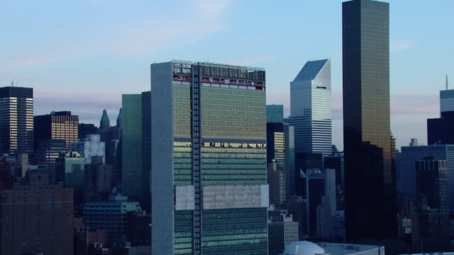 Medium shot of the United Nations Building in Midtown Manhattan.