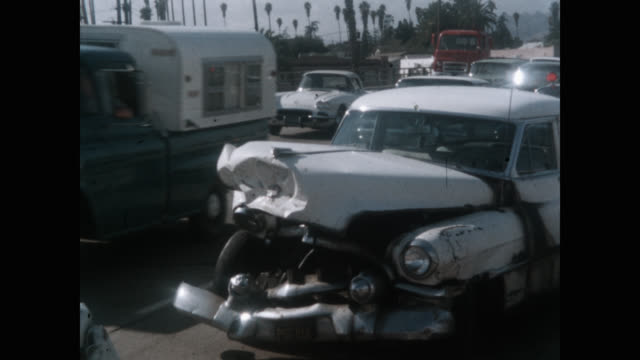 medium shot of traffic moving by car accident site, vermont avenue, san francisco, california, usa - misfortune stock videos & royalty-free footage
