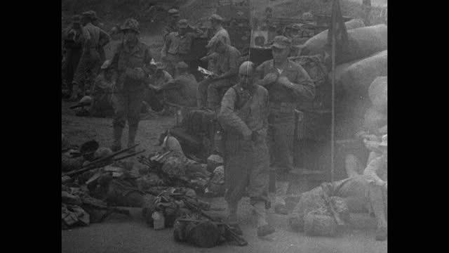 medium shot of us marines relaxing at camp pendleton - mature men stock videos & royalty-free footage