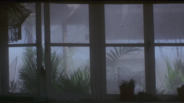 medium shot of windows breaking as a dust storm rages outside. - plant pot stock videos & royalty-free footage