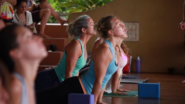 a medium shot of women on yoga mats looking up with yoga blocks - kelly mason videos stock videos & royalty-free footage