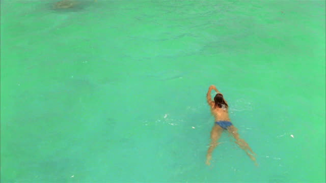 medium shot overhead view of topless woman swimming in blue-green water / zoom out woman swimming towards mount otemanu rising up from water / bora bora - bikinihose stock-videos und b-roll-filmmaterial