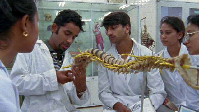 Medium shot pan group of medical students watching teacher explain model of human spine / Nepal