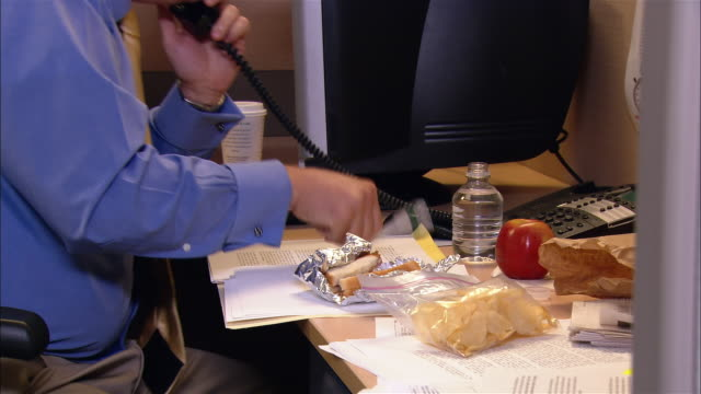 medium shot pan man eating sandwich and talking on phone at desk in cubicle / talking to unseen co-worker - business lunch stock videos & royalty-free footage