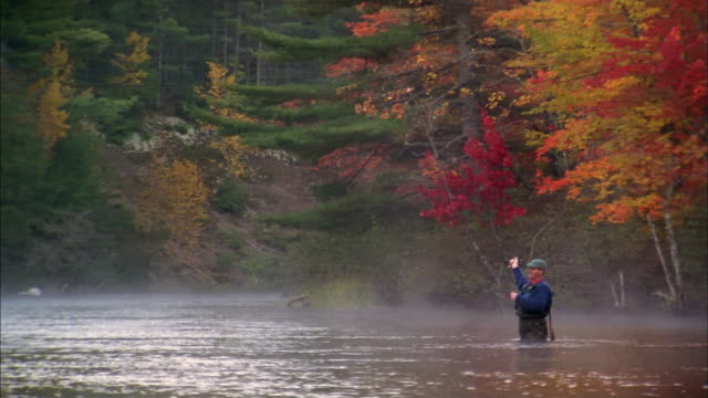 Medium shot pan to man standing in river fly fishing w/autumn trees in background