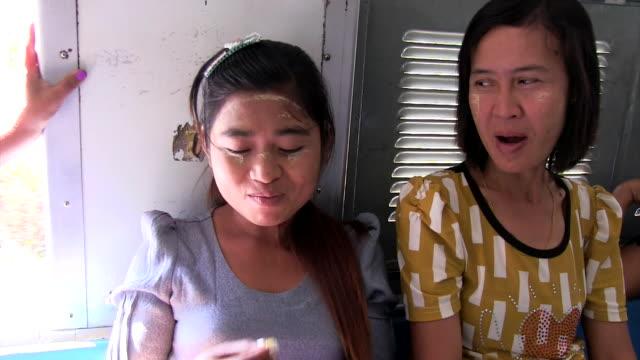 Medium shot Passengers at Old Circular train of Yangon Shot on January 2016