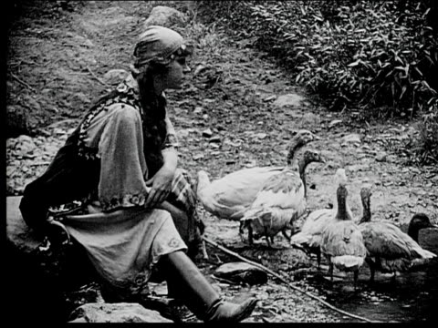 1916 b/w medium shot peasant woman sitting on edge of pond by geese and holding stick - aquatic organism stock videos & royalty-free footage