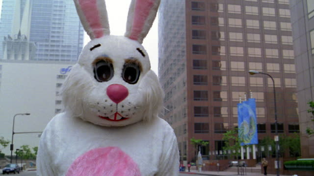 medium shot portrait man dressed in rabbit costume standing in street / los angeles, ca - rabbit costume stock videos & royalty-free footage