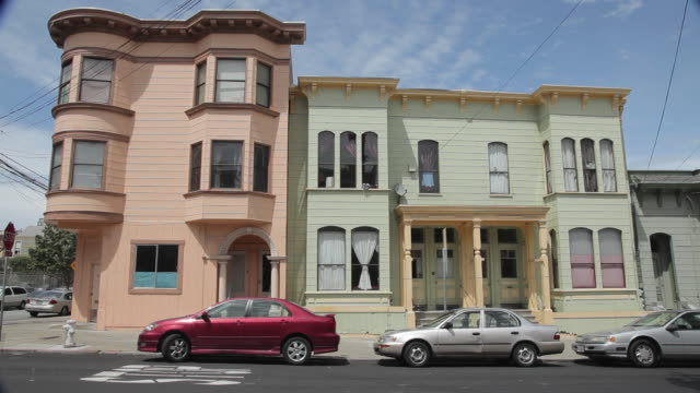 medium shot rowhouses in san francisco - victorian stock videos & royalty-free footage