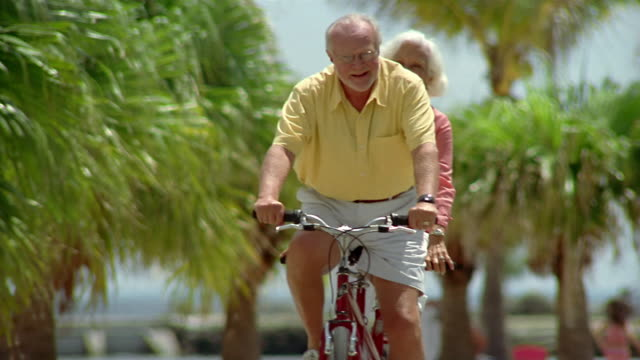 Medium shot senior couple riding tandem bicycle with palm trees in background / Miami, Florida