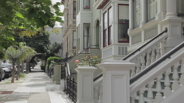 Medium Shot Side Perspective of rowhomes in San Francisco