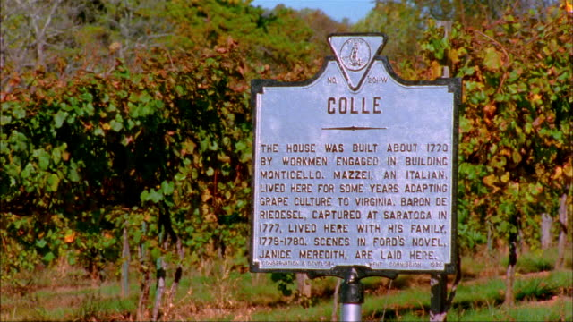 Medium shot sign explaining the history of Colle/ Charlottesville, Virginia