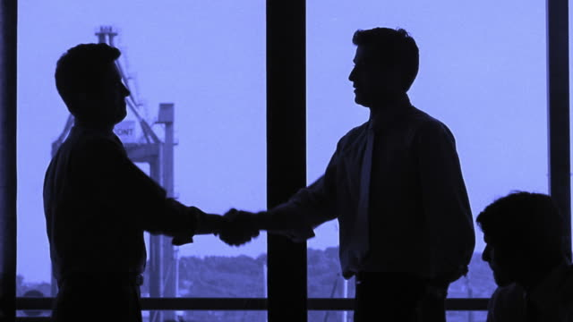Medium shot silhouette of two businessmen shaking hands and slapping a high five with others clapping / Portugal