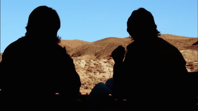 medium shot silhouetted director and cinematographer discussing shot with desert landscape in background / red rock canyon state park, california - film director stock videos & royalty-free footage