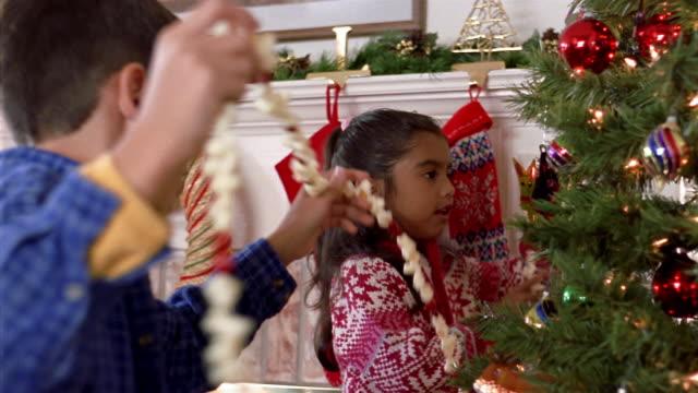 medium shot sister and brother hanging string of popcorn + cranberries around christmas tree - ポップコーン点の映像素材/bロール
