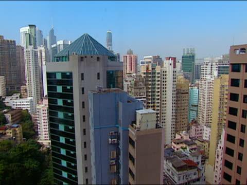 2002 medium shot skyscraper/ tilt up hong kong cityscape from ascending skyscraper elevator/ hong kong - bank of china tornet hongkong bildbanksvideor och videomaterial från bakom kulisserna