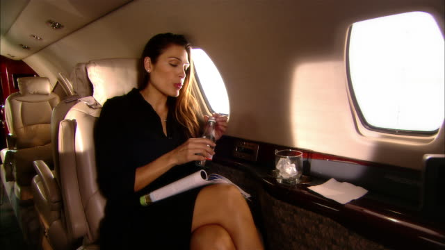 stockvideo's en b-roll-footage met medium shot stewardess talking to businesswoman drinking bottled water on private jet/ miami, florida, usa - zakenreis