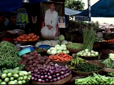 Medium shot still life of vegetables at produce stand