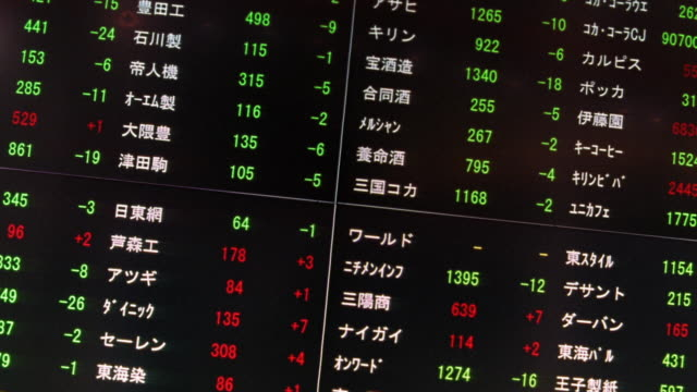 medium shot stock board with flashing lights, changing stock figures at japanese stock exchange / tokyo, japan - currency symbol stock videos & royalty-free footage