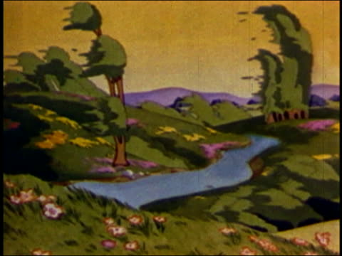 vidéos et rushes de animation medium shot summer landscape becoming windy and changing to winter / audio - froid