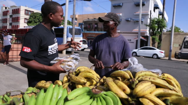 santo domingo dominican republic november 30 2012 a medium shot that starts with a tilt up of stacked bananas on a pushcart switching to two men... - insel hispaniola stock-videos und b-roll-filmmaterial