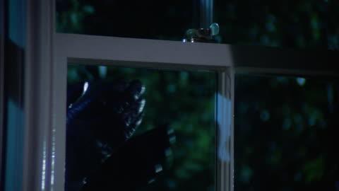 medium shot tilt down burglar using crowbar to pry open window of house on windy night - iron bars for windows stock videos & royalty-free footage