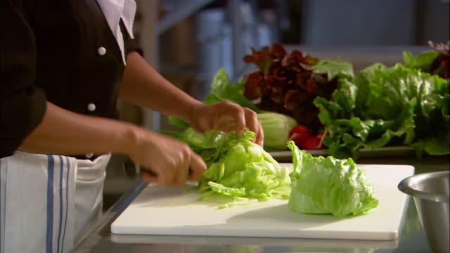 Medium shot tilt up tilt down chef chopping lettuce on cutting board / plate of vegetables in background / Auckland, New Zealand