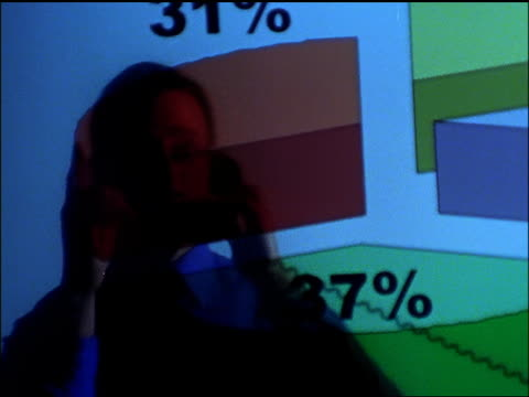 medium shot tracking shot businessman talking on cell phone and pointing at graph on projected screen - solo uomini di età media video stock e b–roll