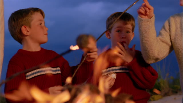medium shot twin boys eating roasted marshmallows w/family by bonfire on beach - marshmallow stock videos & royalty-free footage