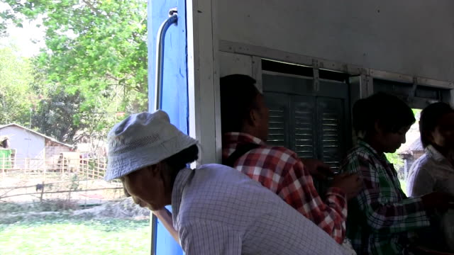 Medium shot Vendor at Old Circular train of Yangon Shot on January 2016