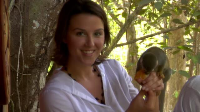 medium shot woman feeding orange to squirrel monkeys at ecolodge/ the amazon, brazil - paar mittleren alters stock-videos und b-roll-filmmaterial