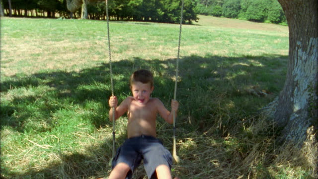 medium shot young boy sitting on tree swing and swinging towards cam - schwingen stock-videos und b-roll-filmmaterial