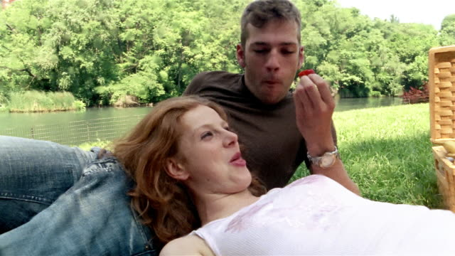 vídeos y material grabado en eventos de stock de medium shot young man feeding girlfriend strawberry during picnic in park / new york city - cesta de picnic
