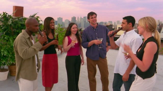Medium shot young people having drinks on roof / woman moving back to camera / skyline in background / New York City