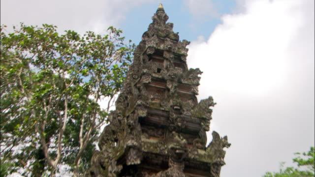 Medium shot zoom out Pura Dalem Agung Temple near Ubud Monkey Forest Sanctuary / Bali, Indonesia