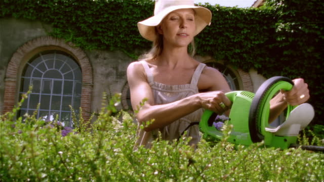 Medium shot zoom out woman trimming shrub with hedge trimmer/ Sainte-Ferme, France