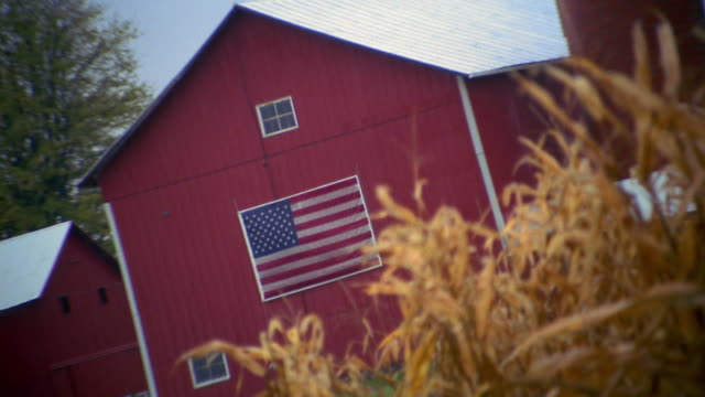stockvideo's en b-roll-footage met medium shot zoom out zoom in american flag hanging on barn - boerderijschuur