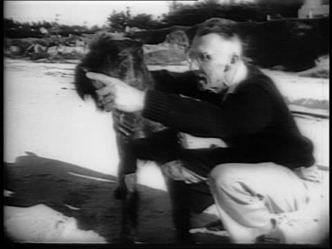 stockvideo's en b-roll-footage met medium shots of general joseph stilwell with reporters / long shot of photographers shooting joseph stilwell at his california home / medium shot of... - chiang kai shek