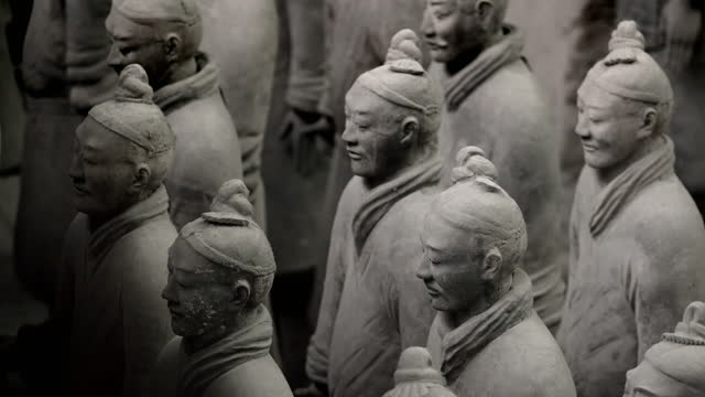 medium shots of terracotta army, shaanxi, china - male likeness stock videos & royalty-free footage