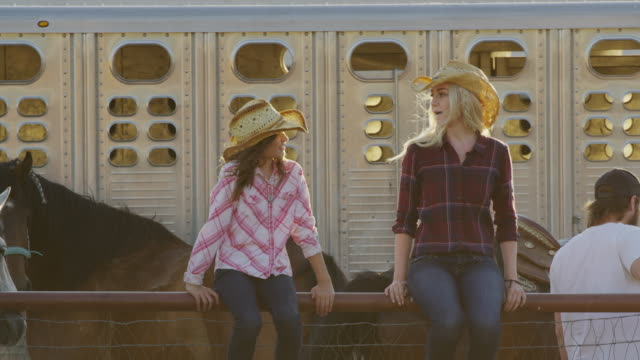 medium slow motion shot of wind blowing hair of woman and girl on fence / lehi, utah, united states - lehi stock-videos und b-roll-filmmaterial