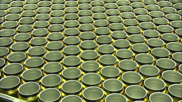 medium static - a machine moves hundreds of aluminum beverage cans /  colorado, united states - aluminum点の映像素材/bロール