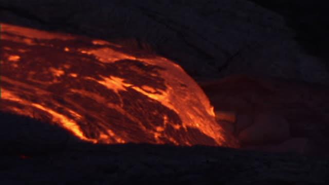 Medium static - Burning lava moves slowly toward the sea. / Hawaii, USA