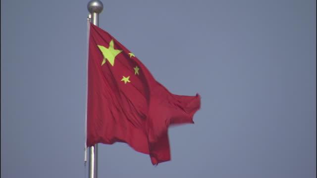 Medium static , The flag of China waves on a flagpole. / China