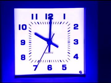 medium swish pan left to a square clock ticking just past 10:00. - swish pan stock videos & royalty-free footage