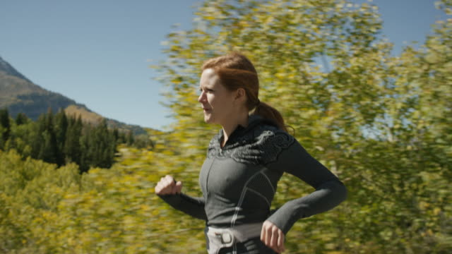 medium tracking shot of woman running in forest / american fork canyon, utah, united states - side view stock videos & royalty-free footage