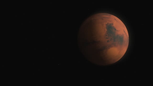 medium zoom-out - a computer animation depicts mars and earth in space. - space exploration stock videos & royalty-free footage