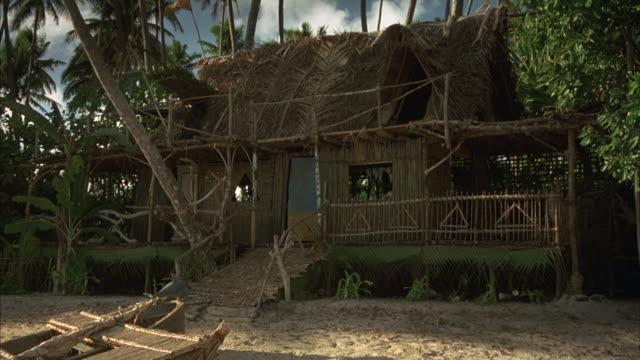 Medium-shot of a straw hut on a tropical beach.